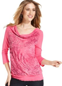 Style & Co Petite Smock Studded Floral Top Henna / Pink