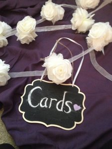 Joann's Fabric Cream Ribbons and Chalkboard Ceremony Decoration