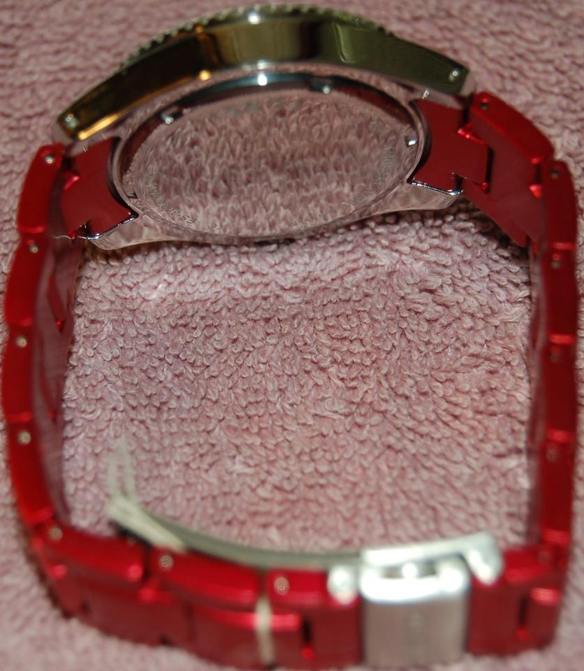 Fossil Red And Silver Tone Es3034 Stella Aluminum Stainless Steel Jr1401 Nate Chronograph Black Watch 123456