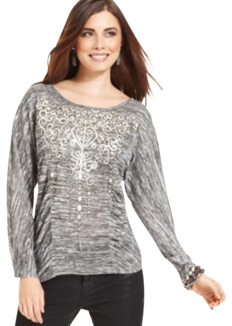 Preload https://img-static.tradesy.com/item/413180/style-and-co-black-style-and-co-dolman-sleeve-ruched-printed-blouse-size-10-m-0-0-650-650.jpg