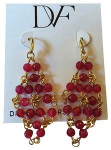 Diane von Furstenberg NWT!!! Pink Honey Turquoise Faceted Bead Drape Drop Earring