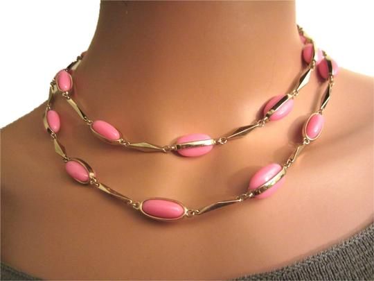 "J.Crew J. Crew Pink & Gold Tone Station 35"" Long Strand Necklace"