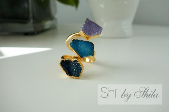 "Other ""Parvarti"" Gold plated three stones natural Druzy rings"