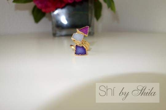"""Other """"Parvarti"""" 24K Gold plated three stones natural Druzy rings"""