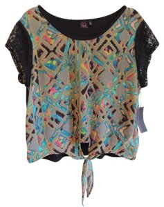 Material Girl Top print sheer front & solid black back