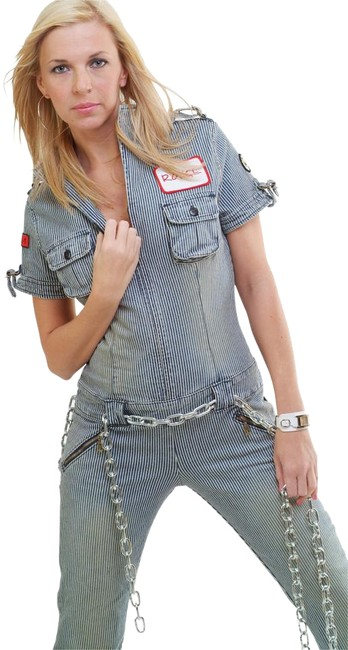 Rouge Ladies Denim Cargo Pocket Denim Jumpsuit Denim Flared Leg Denim Long Denim Women's Denim Women's Jumpsuit Cargo Jeans-Distressed
