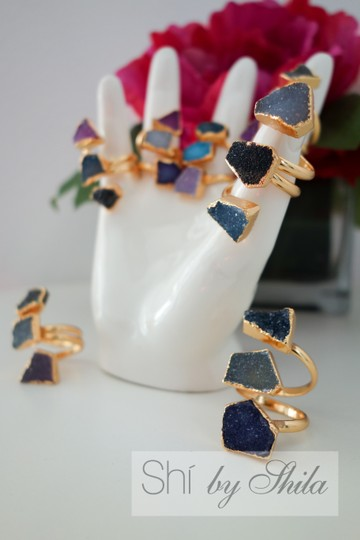"""Other Adjustable """"Parvarti"""" 24K Gold plated three stones natural Druzy rings"""