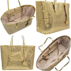 Michael Kors Perforated Metallic Logo Mk Leather Large Tote in Gold