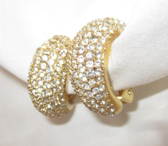 Dior CHRISTIAN DIOR DIAMANTE RHINESTONE EVENING CLIP EARRINGS