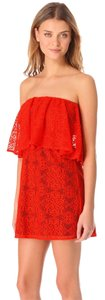T-Bags Los Angeles short dress Red Ruffle Mini Strapless Lace on Tradesy