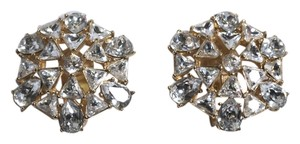 Dior CHRISTIAN DIOR DIAMANTE RHINESTONE EVENING CLUSTER CLIP EARRINGS