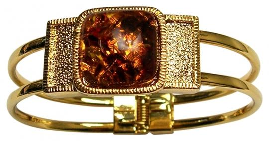 Other Vintage Faux Amber Hinged Confetti Clamper Bracelet