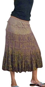 T-Bags Los Angeles Peasant Boho Bohemian Skirt Brown
