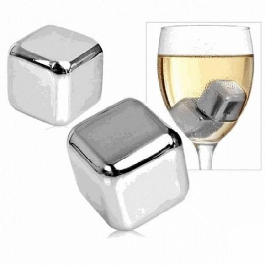 Chrome Gift 4x Whisky Chilling Stainless Steel Reusable Ice Cubes