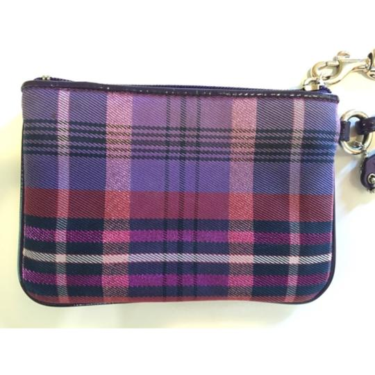 Coach Plaid Wristlet in Purple