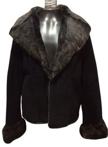 Fur Suede black and grey Leather Jacket