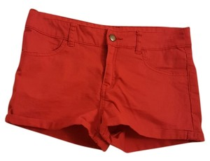 Divided by H&M Cotton Polyester Elastane Cuffed Shorts Red