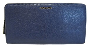 Coach COACH MADISON LEATHER SKINNY WALLET BLUE LACQUER SILVER HARDWARE