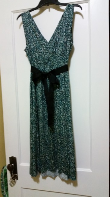 Multiple - Cream, Gray, Teal and Black Maxi Dress by Nine West Comfortable Polyester Flowy Art Deco V-neck Summer Empire Waist