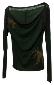 Three Dots Embellished Modal Top Black with Brown Lace Design.