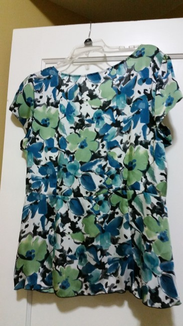 Axcess Floral Flowy Top Multiple - Teal, Black, White and Lime