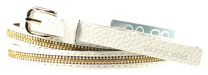 Michael Kors New! Michael Kors Skinny Zipper Inlay Leather Belt - L - White
