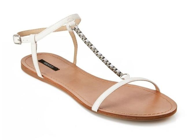 Item - White Chained T-strap Sandals Size US 6 Narrow (Aa, N)