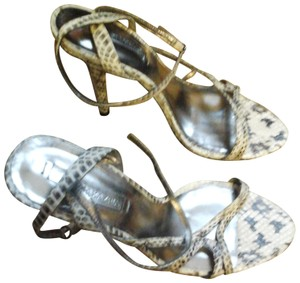 BCBG Snakeskin Serpent Python Strappy Heels Pumps Max Azria GRAY Sandals