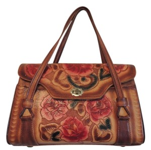 Satchel in Tan Leather with Painted colors