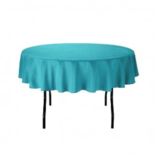 """One 70"""" Round Turquoise Polyester Linen"""