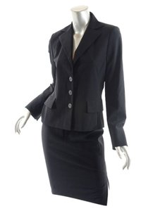 Akris AKRIS Black 100% Wool Gaberdine Silk Lined Spring/Summer Skirt-Suit - US10/12