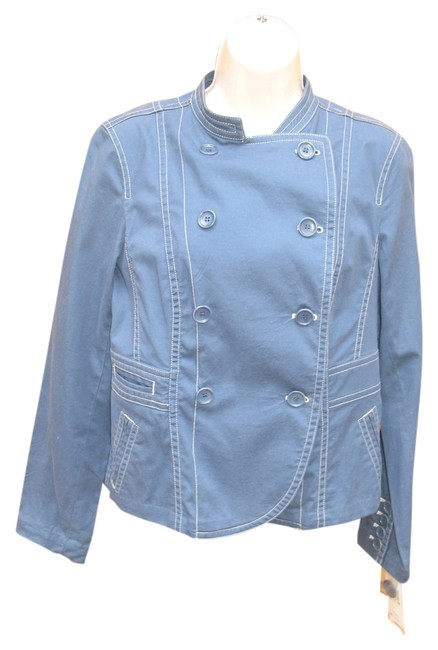 Preload https://item1.tradesy.com/images/dkny-blue-splash-stretch-cotton-double-breasted-m-new-miltary-jacket-size-8-m-4136395-0-0.jpg?width=400&height=650