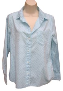 J.Crew Button Front Classic Boyfriend Polka Button Down Shirt Blue/ Green Dots