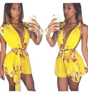 New Vibrant yellow tie up romper play suit