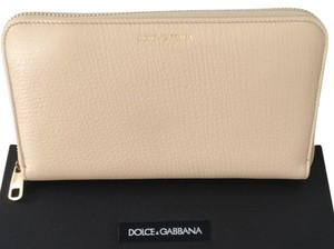 Dolce&Gabbana Dolce & Gabbana Leather Zip Wallet Light Beige