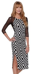 LA Hearts Midi Tribal Prints Mesh Dress