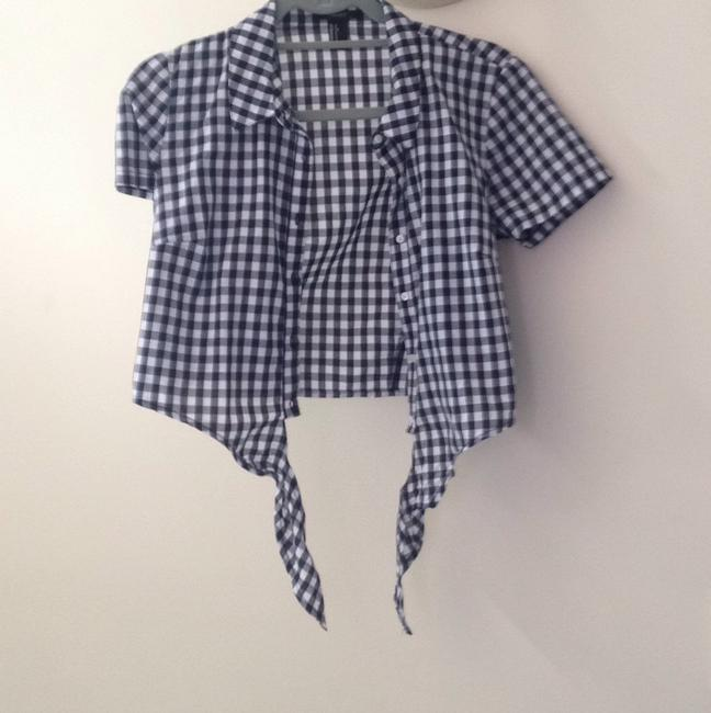 Forever 21 Button Down Shirt Navy Blue and white