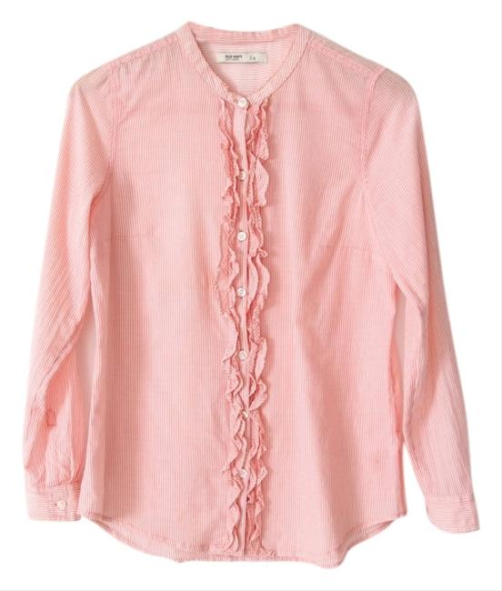 Old Navy Pinstripe Ruffle Button Down Shirt Pink