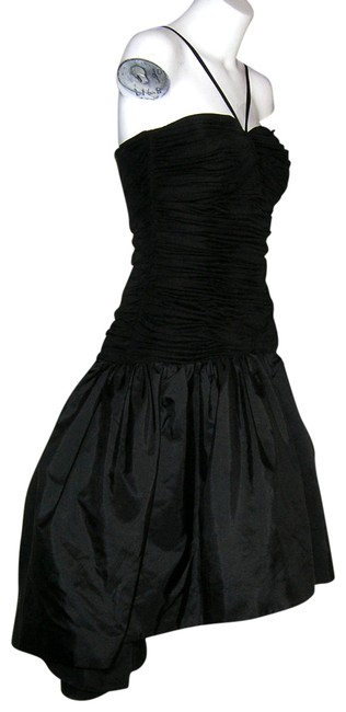 Preload https://item3.tradesy.com/images/black-vintage-saks-fifth-avenue-asymmetrical-ruched-tafetta-high-low-formal-dress-size-10-m-413802-0-0.jpg?width=400&height=650