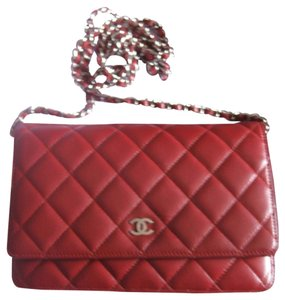 Chanel Chanel Wallet On A Chain Woc Quilted Lambskin Leather Cc Logo Flap Classic Timeless 2.55 Box Silver Hardware Shw 12c Red Cross Body Bag
