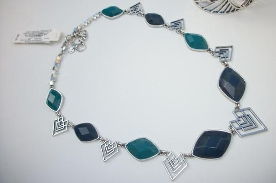 Lucky Brand New! Lucky Brand Dyed Jade Tribal Cut Out Blue Teal Stones Necklace Silver Tone