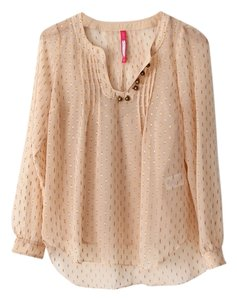 Plenty by Tracy Reese Metallic Peasant Boho Top Nude