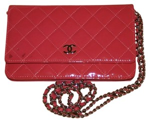 Chanel Chanel Wallet On A Chain Woc Patent Quilted Leather Classic Timeless Flap Clutch Mini Pink Cross Body Bag
