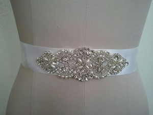 Crystal And Pearl Wedding Sash With Silver Double Sided Satin