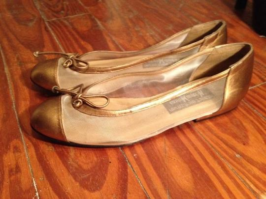 Stuart Weitzman Mesh Round Toe Leather Bronze Flats