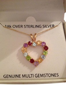 Victoria Townsend Multi Gemstone 18k Gold Over Sterling Silver Heart Necklace