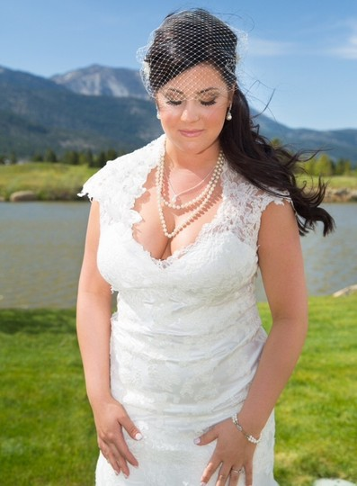 Allure Bridals Ivory Charmeuse and English Net Vintage Wedding Dress Size 14 (L)