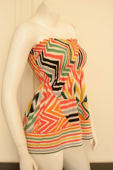 BCBGMAXAZRIA Boho Bohemian Chevron Tribal Gypsy Shirt Summer Spring Hippy Hippie Cochella Tube Strapless Halter Colorful Abstract Tunic