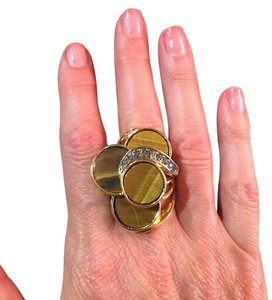 Roberto Cavalli Roberto Cavalli Authentic Gold Plated Tiger's Eye Ring