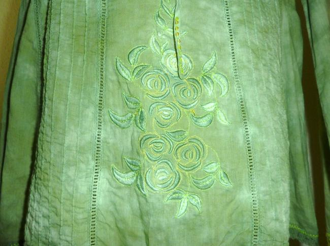 Free People Embroidered Floral Cotton Died Effect Acid Wash Tunic